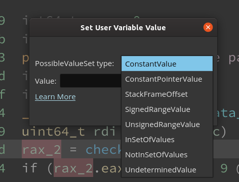 Options when setting PossibleValueSet